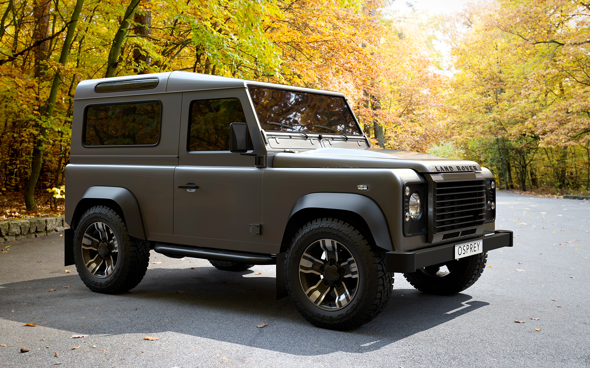 Green Land Rover Defender on HAWKE Osprey wheels in Black Polished colour finish