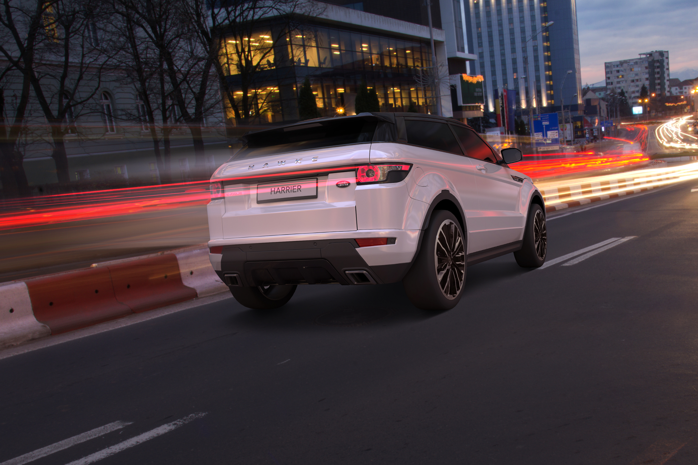 White Range Rover Evoque on HAWKE Harrier wheels in Black Polished colour finish