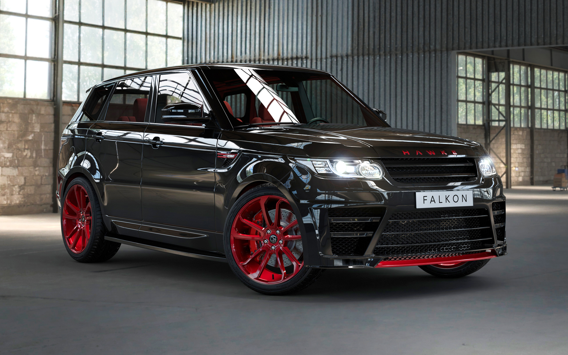 Black Range Rover Sport on HAWKE Falkon wheels in Red colour finish