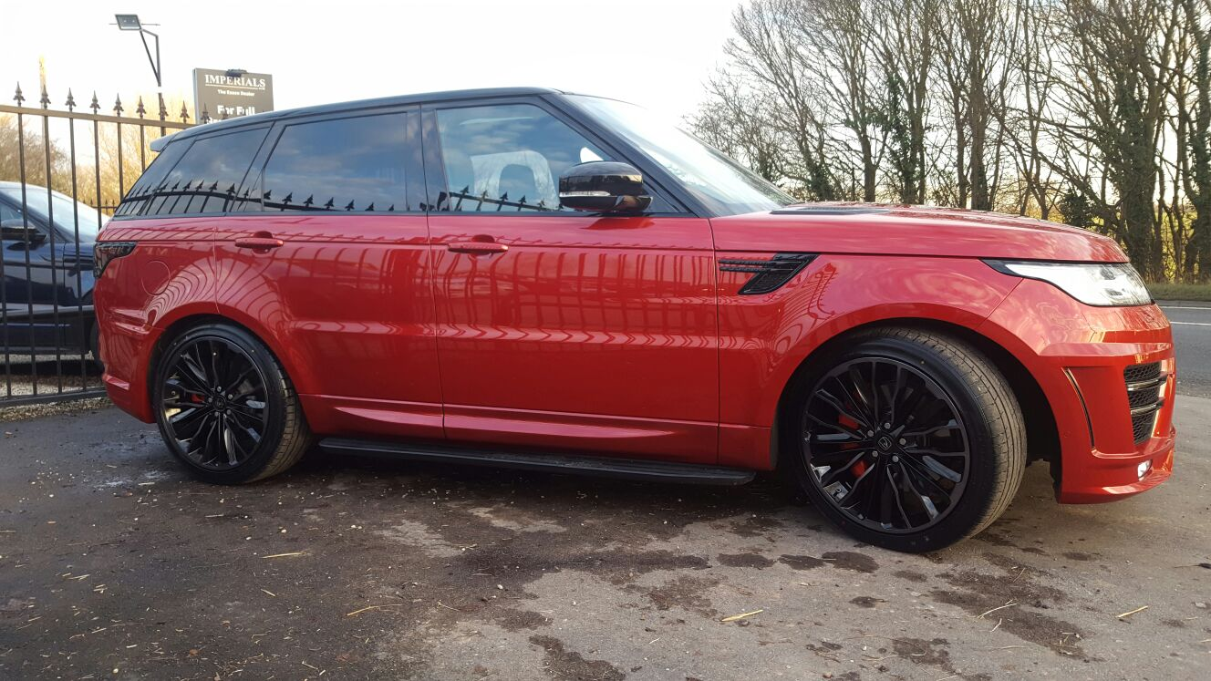 Red Range Rover Sport on HAWKE Harrier wheels in Black colour finish