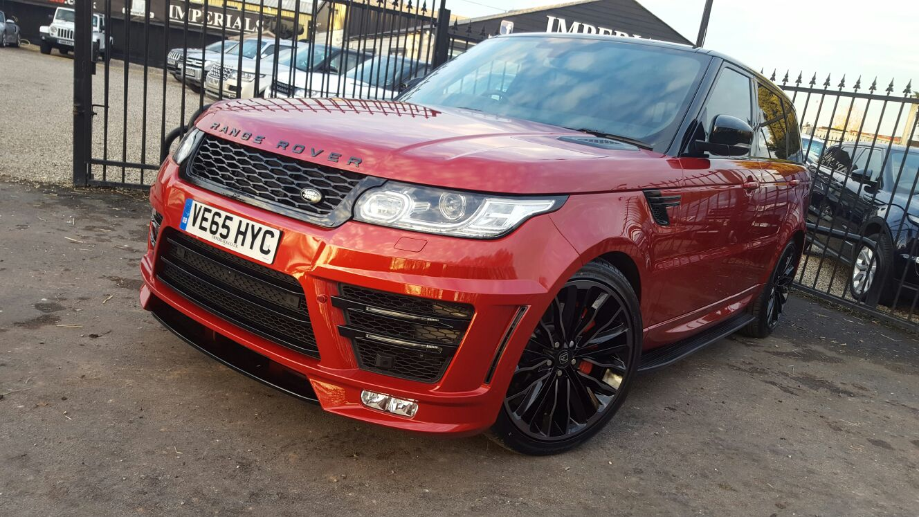 Red Range Rover Sport on HAWKE Harrier wheels in Black colour finish