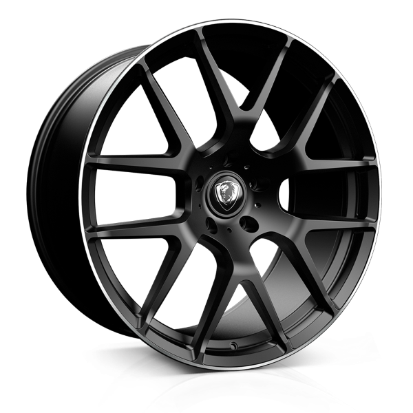 Cades Comana 22 inch wheel finished in Matt Black Lip Polish; drilled to 5x112 stud pattern