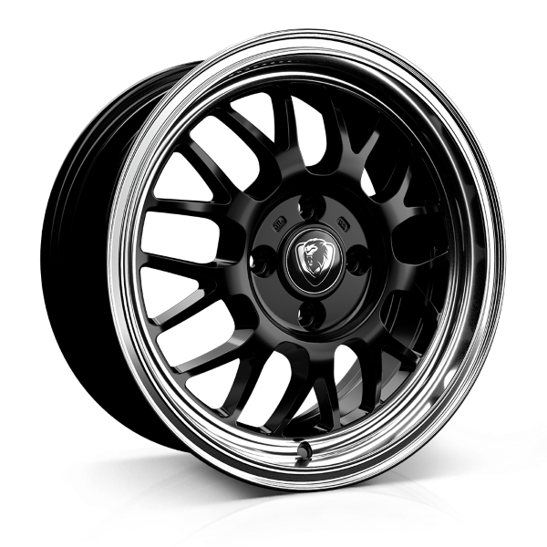 Cades Eros 15 inch wheel finished in Black; drilled to 4x100 stud pattern