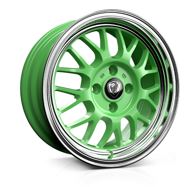 Cades Eros 15 inch wheel finished in Green; drilled to 4x100 stud pattern
