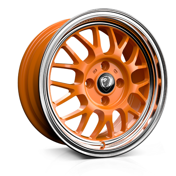 Cades Eros 15 inch wheel finished in Orange; drilled to 4x100 stud pattern