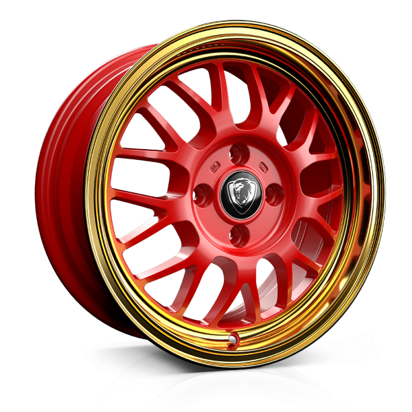 Cades Eros 15 inch wheel finished in Red with Gold Lip; drilled to 4x100 stud pattern