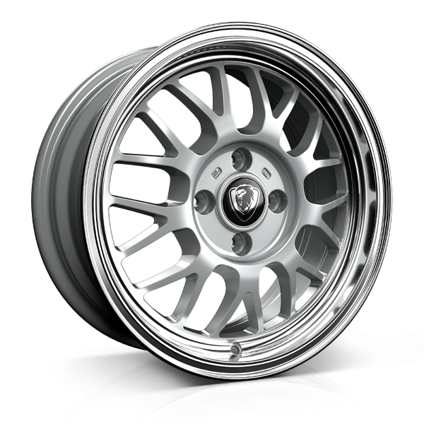 Cades Eros 16 inch wheel finished in Silver Lip Polish; drilled to 4x100 stud pattern