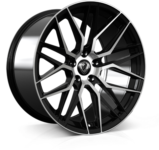 Cades Hera 20 inch wheel finished in Jet Black Polished drilled to 5-120 stud pattern