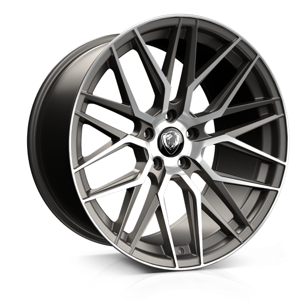 Cades Hera 20 inch wheel finished in Matt Gunmetal Polished drilled to 5-120 stud pattern