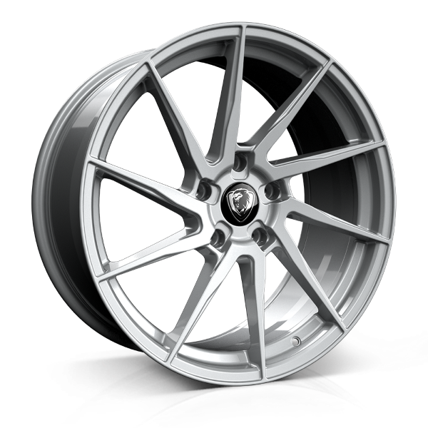 Cades Kratos 18 inch rear wheel finished in High Power Silver; drilled to 5x120 stud pattern
