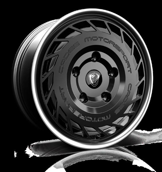 Cades Motorsport Transit 18 inch wheel finished in Black Lip Polish; drilled to 5x160 stud pattern