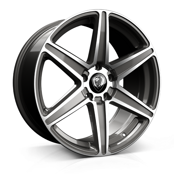 Cades Thor 20 inch wheel finished in Gunmetal Polish; drilled to 5x112 stud pattern