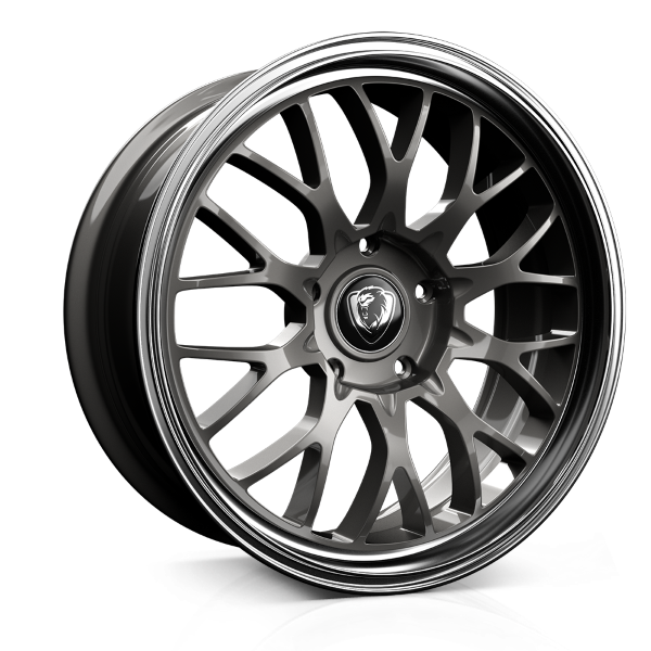 Cades Tyrus 19 inch wheel finished in Dark Gunmetal Polish; drilled to 5x120 stud pattern