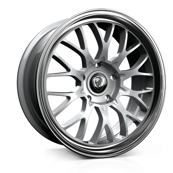Cades Tyrus 19 inch wheel finished in Silver Lip Polish; drilled to 5x112 stud pattern