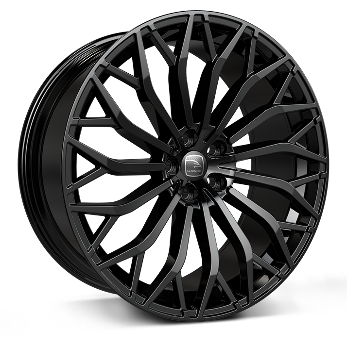 Hawke Arion 22 inch wheel finished in Jet Black; drilled to 5-108 stud pattern
