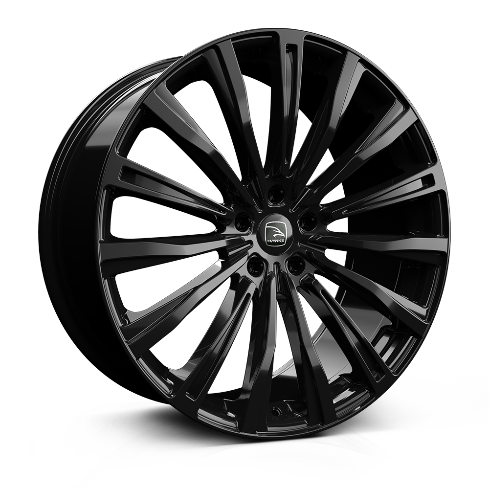 Hawke Chayton 22 inch wheel finished in Black; drilled to 5-108 stud pattern