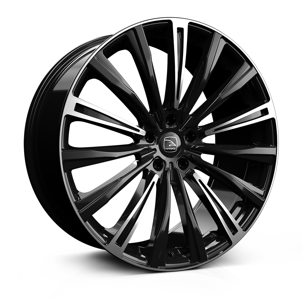 22x9.5 5-120 ET38 HAWKE CHAYTON JET BLACK HIGHLIGHTED C72