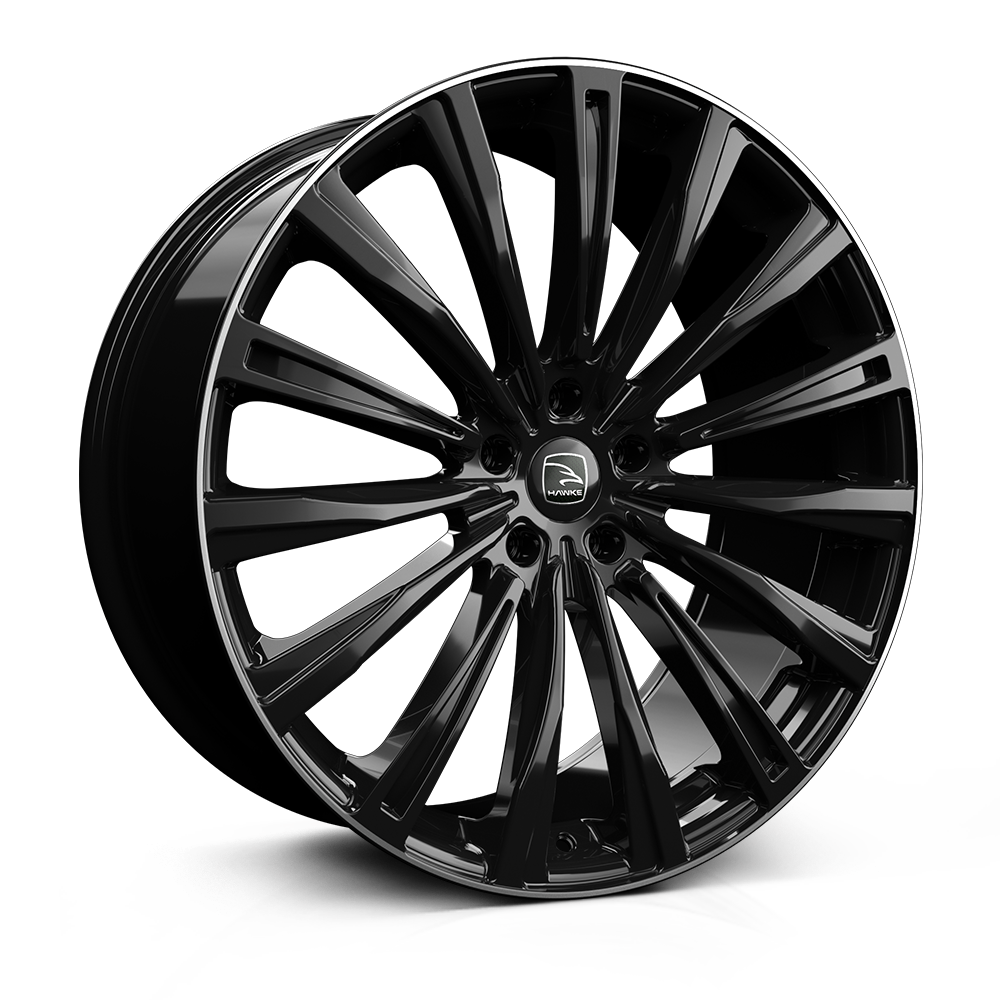 Hawke Chayton 22 inch wheel finished in Black lip Polish; drilled to 5-112 stud pattern