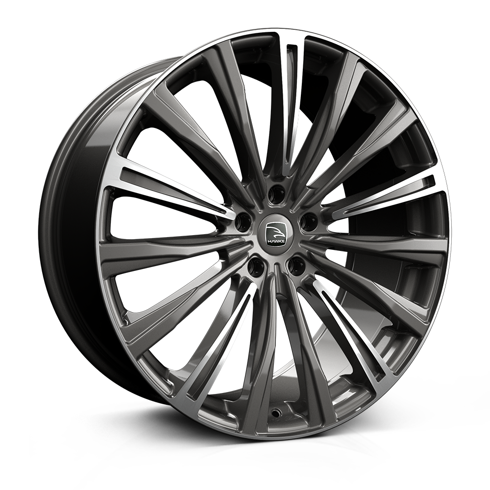 Hawke Chayton 22 inch wheel finished in Gunmetal Highlight; drilled to 5-108 stud pattern