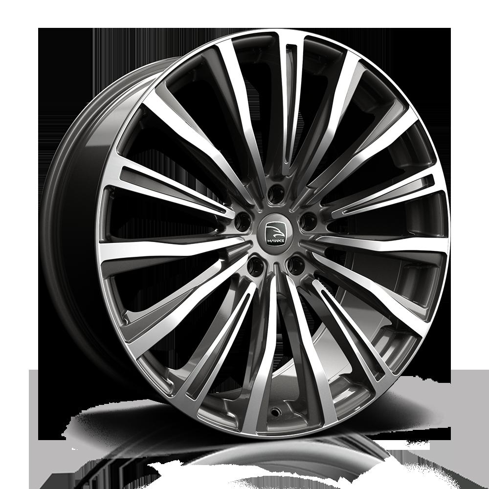 Hawke Chayton 20 inch wheel finished in Gunmetal  Polish; drilled to 5-120 stud pattern