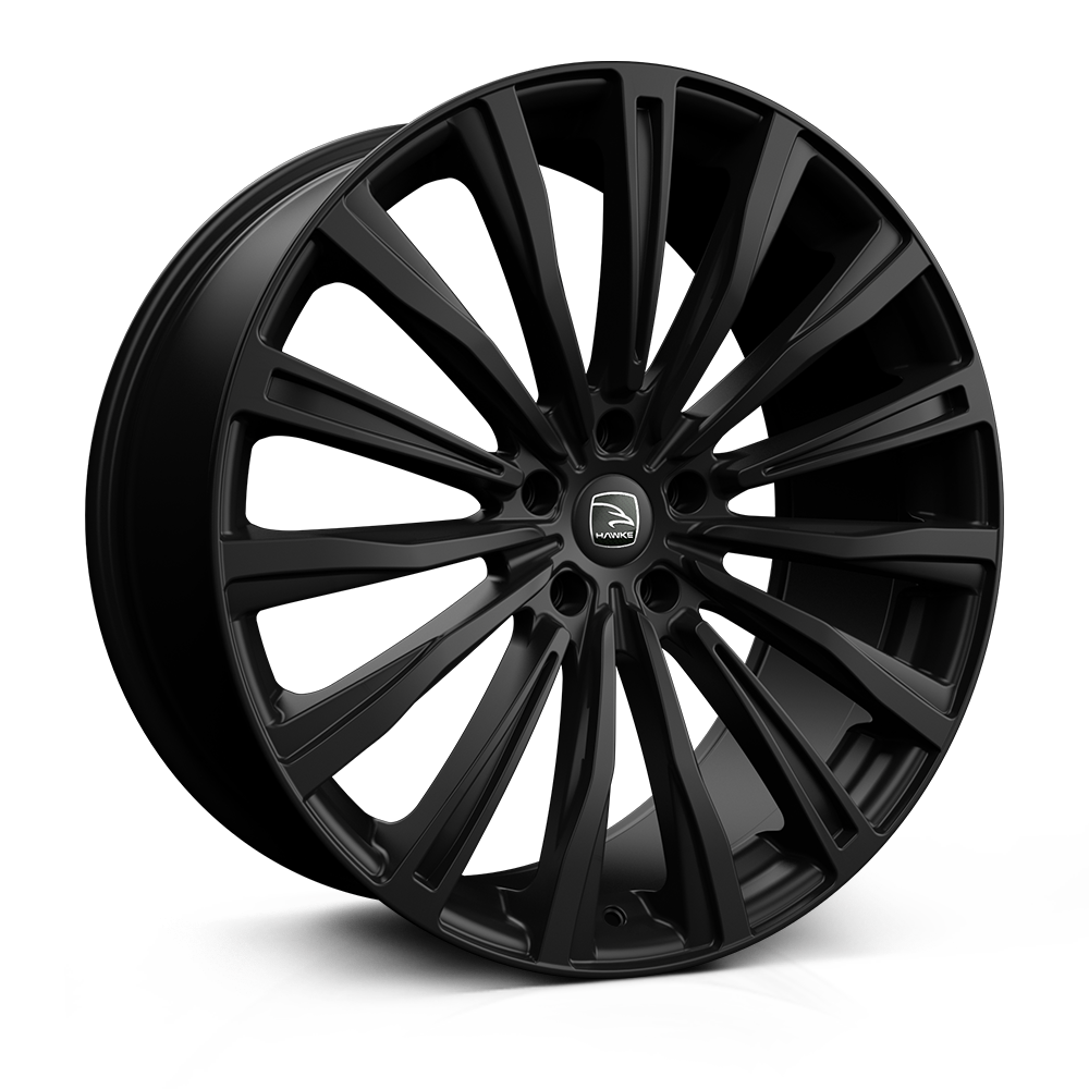 Hawke Chayton 22 inch wheel finished in Matt Black; drilled to 5-112 stud pattern