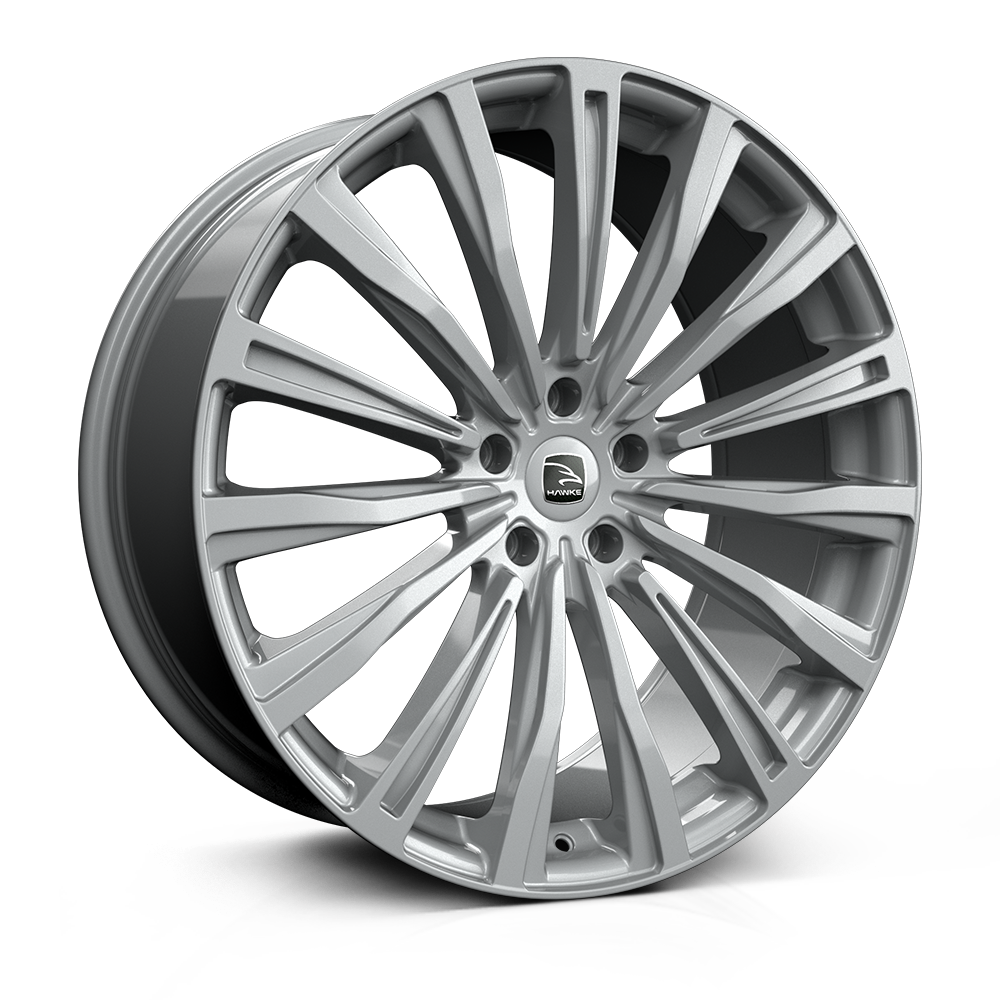 Hawke Chayton 22 inch wheel finished in Silver; drilled to 5-112 stud pattern
