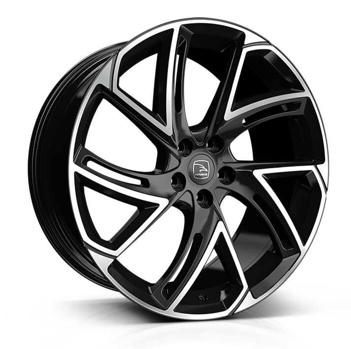 22x9.5 5-108 ET39 HAWKE CONDOR GLOSS BLACK POLISH C63