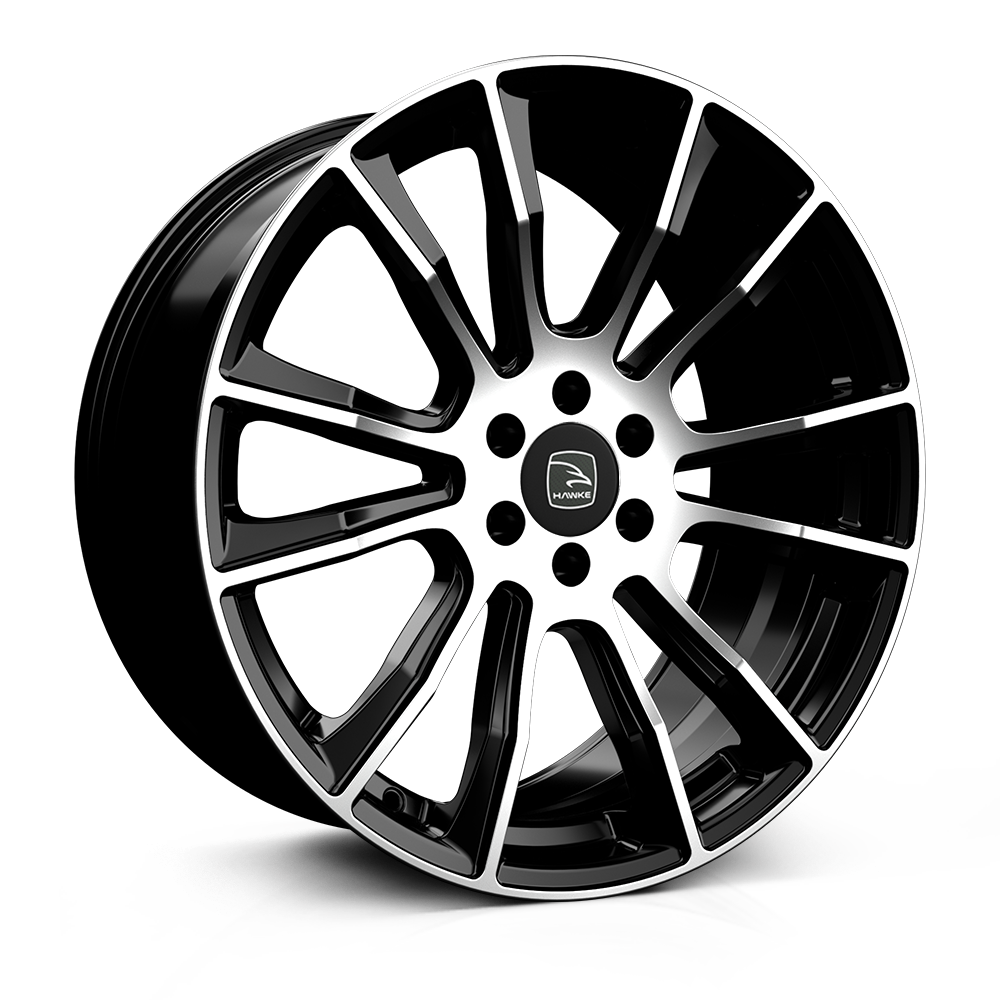 Hawke Denali 20 inch wheel finished in Black Polished; drilled to 6-114 stud pattern