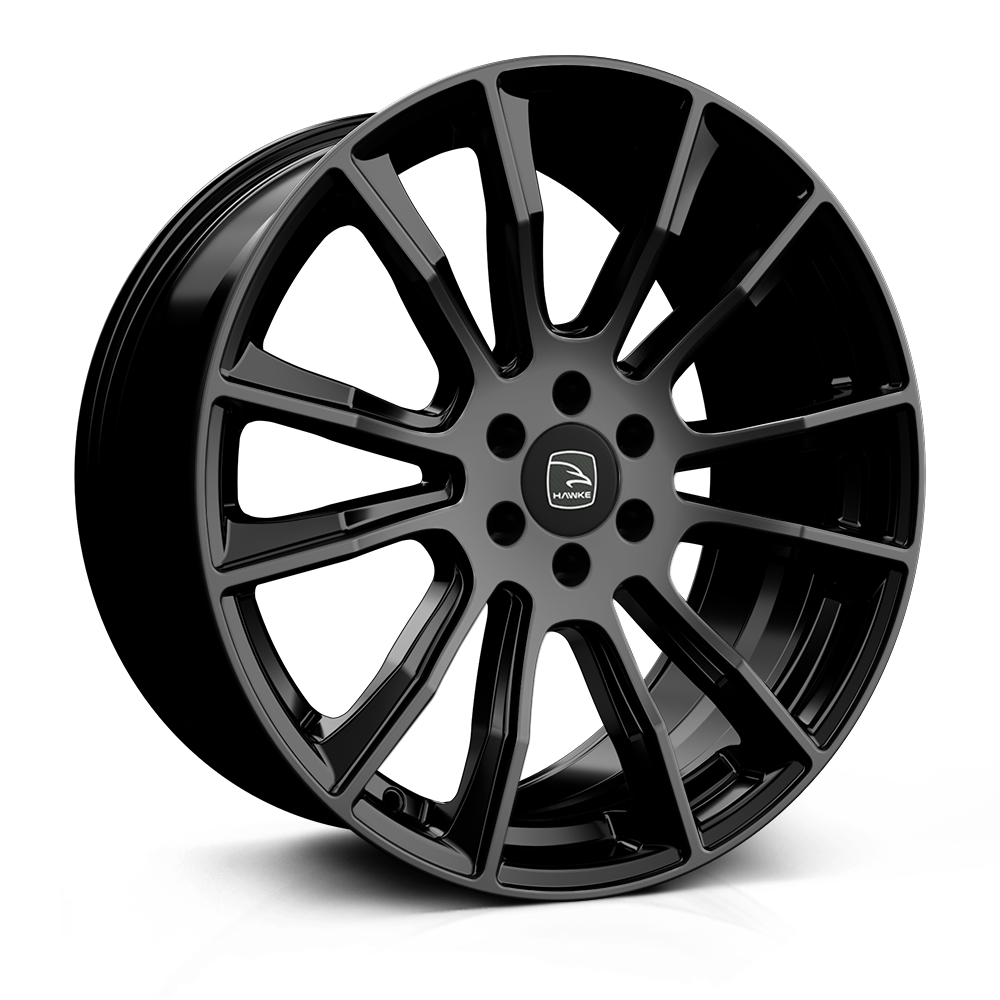 Hawke Denali 20 inch wheel finished in Jet (Gloss) Black; drilled to 6-114 stud pattern