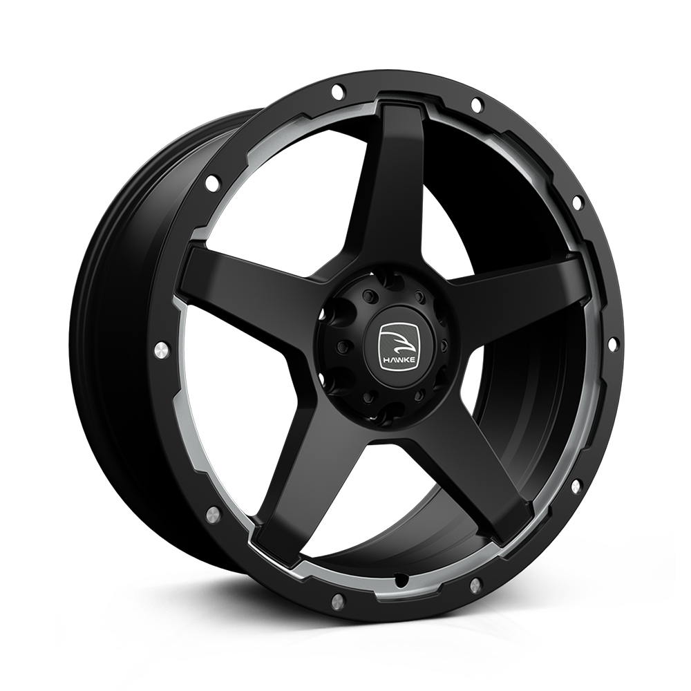 Hawke Eiger 18 inch wheel finished in Matt Black/Silver; drilled to 6-139 stud pattern