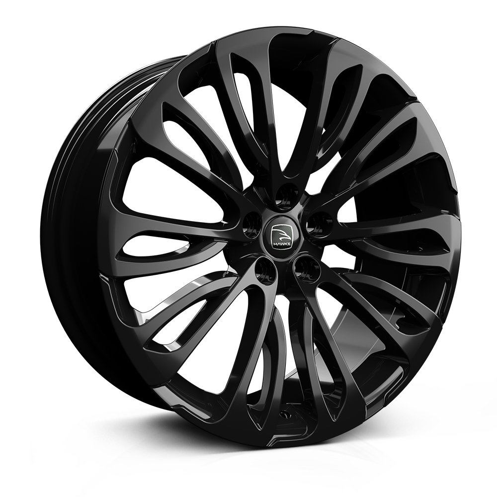 Hawke Halcyon 22 inch wheel finished in Black; drilled to 5-120 stud pattern