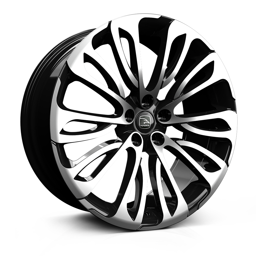 Hawke Halcyon 22 inch wheel finished in Black Polish; drilled to 5-108 stud pattern