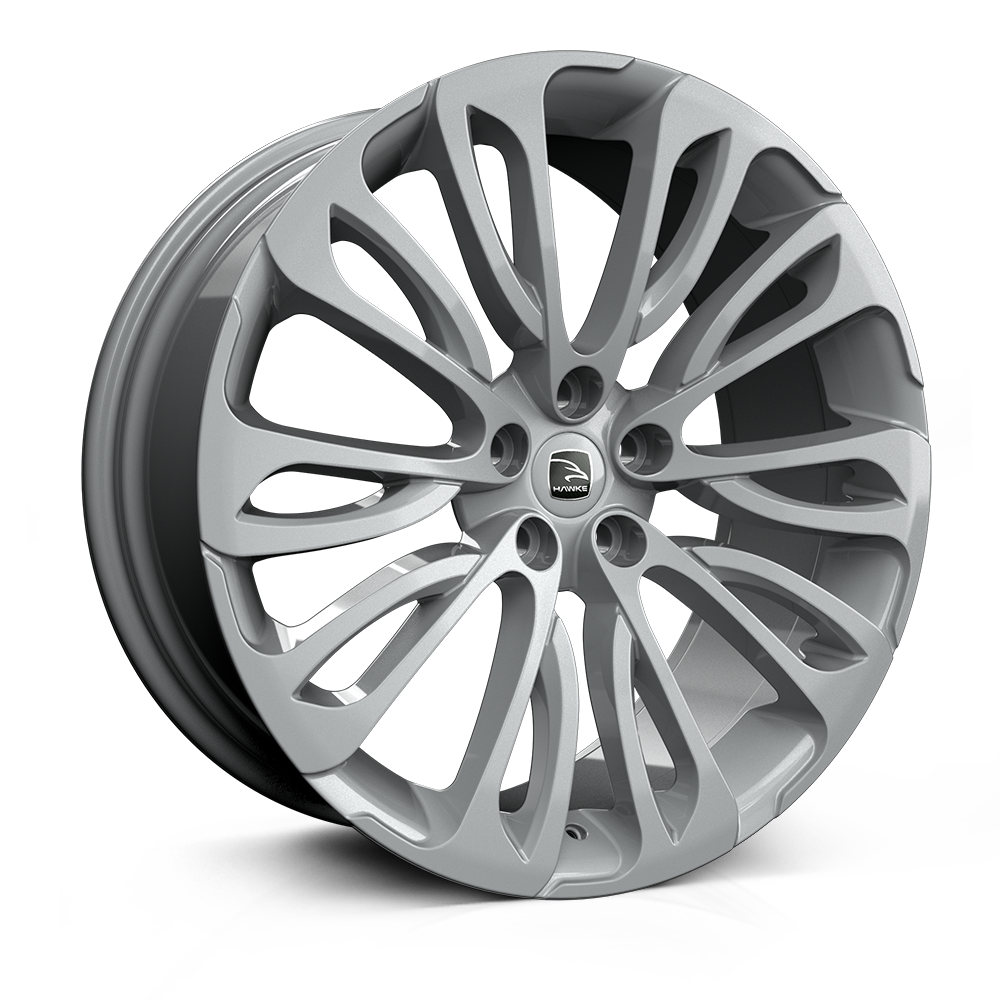 Hawke Halcyon 22 inch wheel finished in Silver; drilled to 5-108 stud pattern