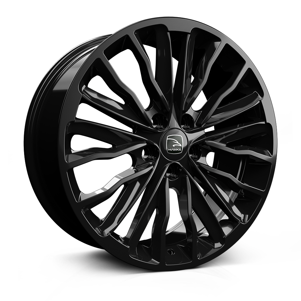 Hawke Harrier 22 inch wheel finished in Black; drilled to 5-108 stud pattern
