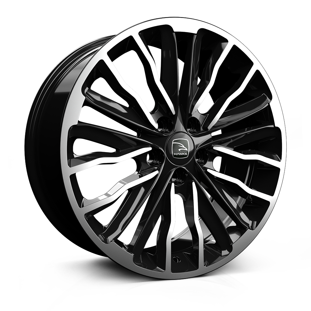 Hawke Harrier 20 inch wheel finished in Black Polish; drilled to 5-108 stud pattern