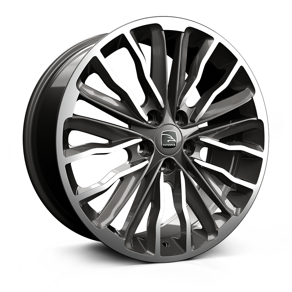 Hawke Harrier 22 inch wheel finished in Gunmetal Polish; drilled to 5-108 stud pattern