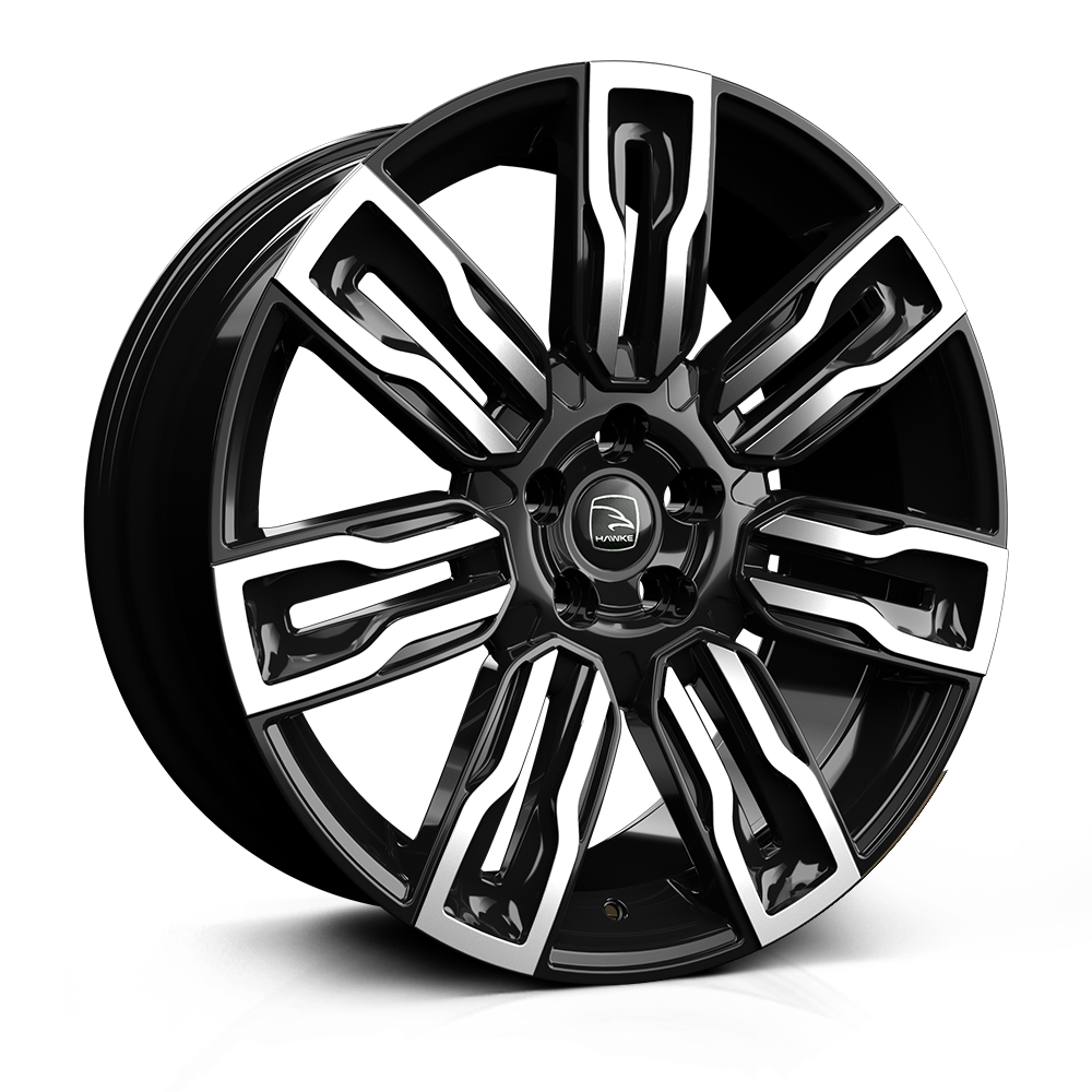 Hawke Hermes 22 inch wheel finished in Black Polish; drilled to 5-120 stud pattern