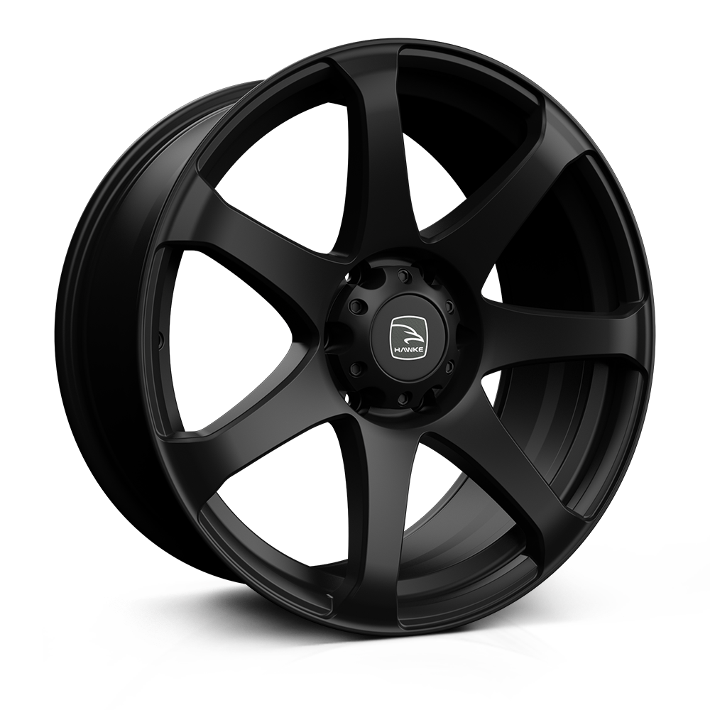 Hawke Peak 20 inch wheel finished in Matt Black; drilled to 6-139 stud pattern