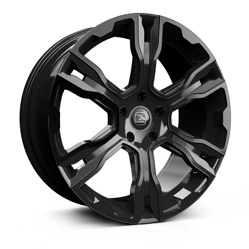Hawke Spirit 22 inch wheel finished in Black; drilled to 5-120 stud pattern