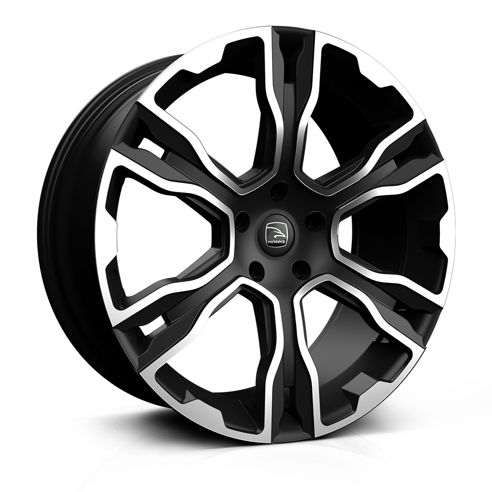 22x9.5 5-120 ET38 HAWKE SPIRIT MATT BLACK POLISH C72