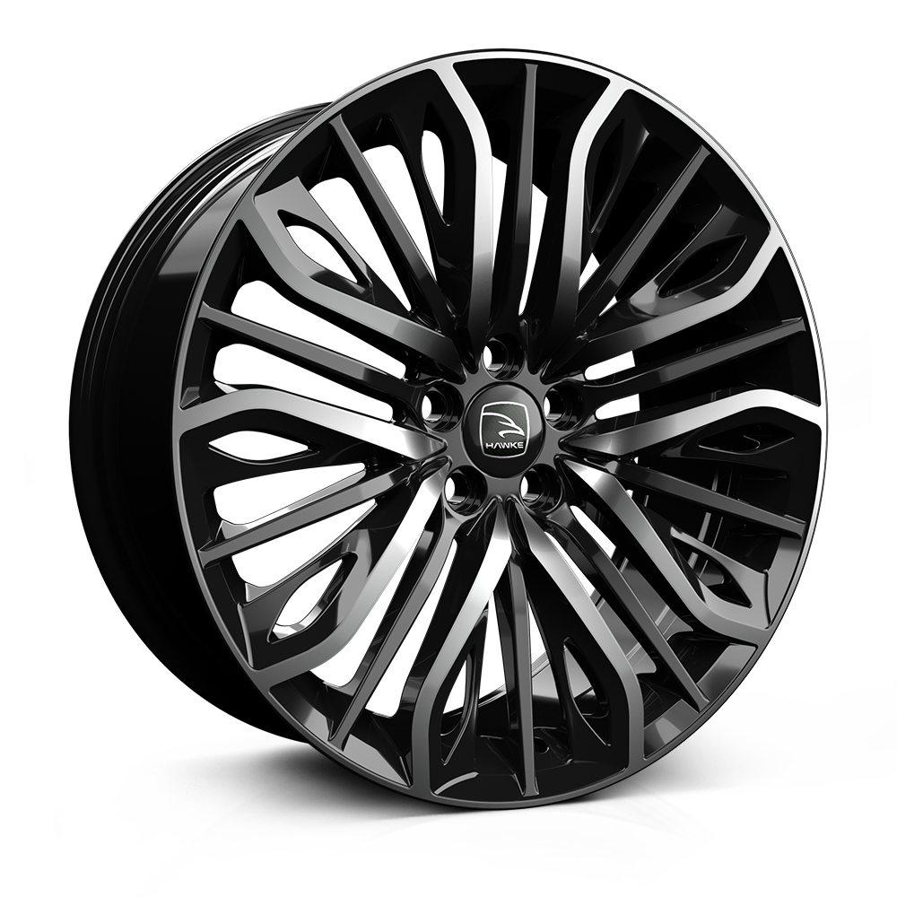 22x9.5 5-120 ET35 HAWKE VEGA FLO FORMED JET BLACK SHADOW C72