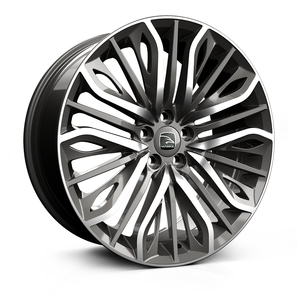 22x9.5 5-112 ET30 HAWKE VEGA FLOW FORMED GUNMETAL POLISH C66