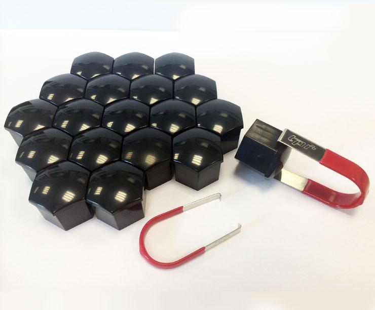 TPi 20 x BLACK Alloy Wheel Nut Bolt Covers 21mm
