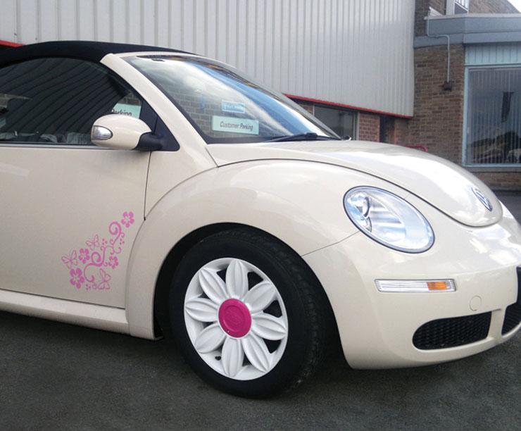 vw beetle  tansy daisy flower alloy wheels  white   stock ebay