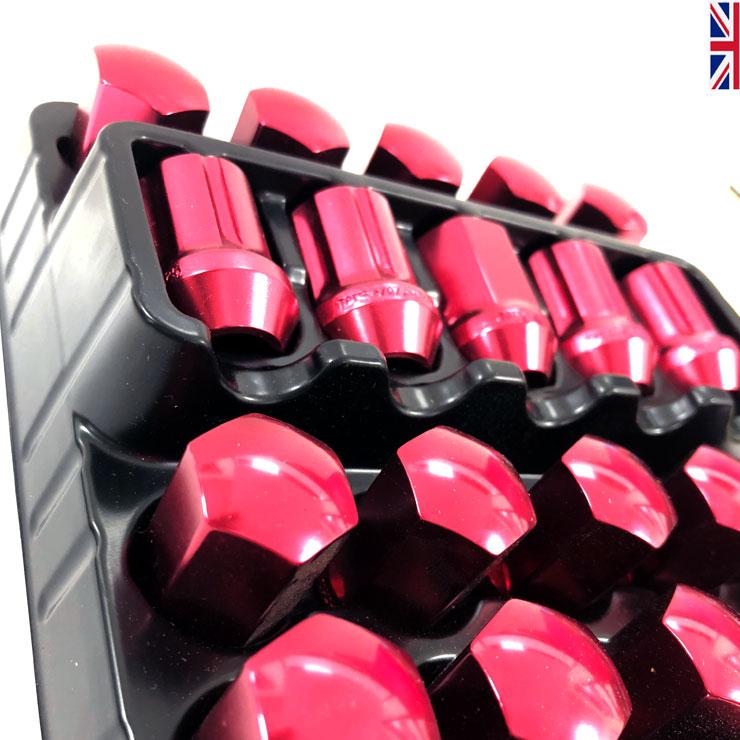 TPI XR ligero Tuercas de Rueda 12x1.25 X 16 Rojo